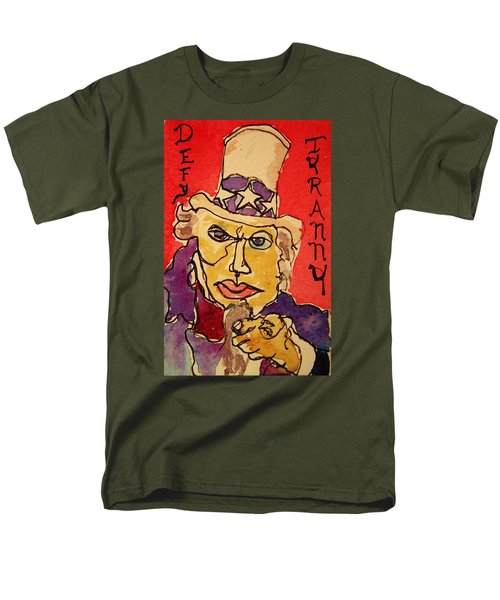 Men's T-Shirt  (Regular Fit) featuring the painting Uncle Sam Defy Tyranny by Rand Swift