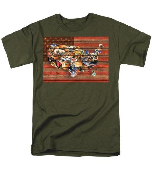 Usa Nfl Map Collage 10 Men's T-Shirt  (Regular Fit) by Bekim Art