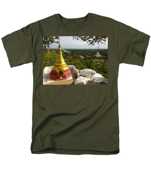 Men's T-Shirt  (Regular Fit) featuring the photograph View Over Ancient City Of Mandalay Aungmyaythazan From Mandalay Hill Mandalay Burma by Ralph A  Ledergerber-Photography