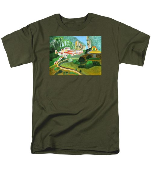 Men's T-Shirt  (Regular Fit) featuring the painting Village In The Mountains  by Magdalena Frohnsdorff