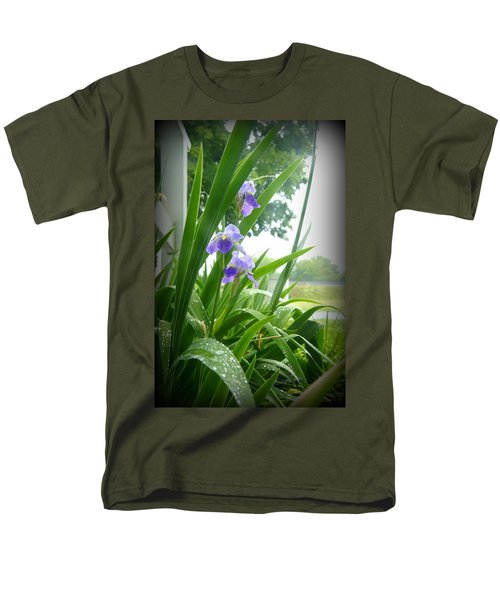 Men's T-Shirt  (Regular Fit) featuring the photograph Iris With Dew by Laurie Perry