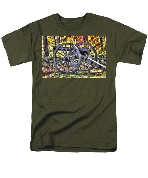 Men's T-Shirt  (Regular Fit) featuring the photograph War Thunder - The Albemarle Va Artillery Wyatt's Battery-b2 West Confederate Ave Gettysburg by Michael Mazaika