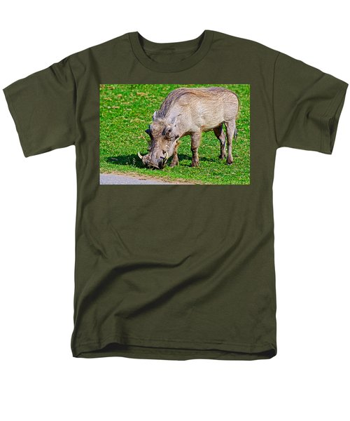 Warthog In Addo Elephant Park Near Port Elizabeth-south Africa  Men's T-Shirt  (Regular Fit) by Ruth Hager