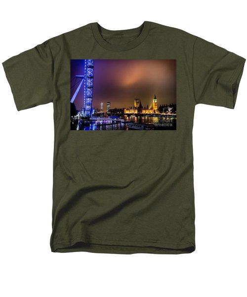 Men's T-Shirt  (Regular Fit) featuring the photograph Westminster And Eye Night Glow by Matt Malloy