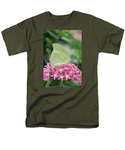 Men's T-Shirt  (Regular Fit) featuring the photograph White Angled Sulphur by Judy Whitton