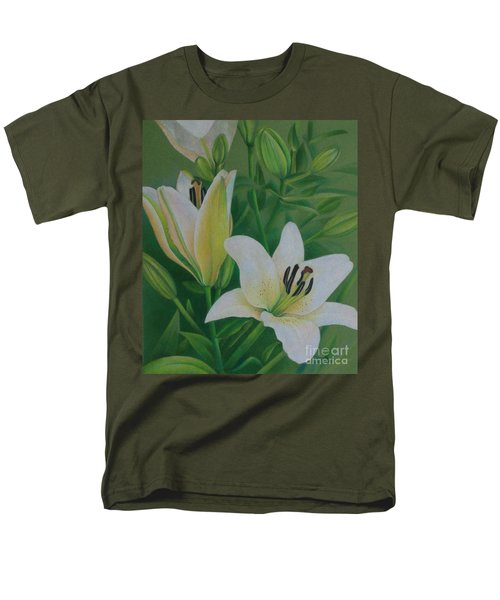 Men's T-Shirt  (Regular Fit) featuring the painting White Lily by Pamela Clements