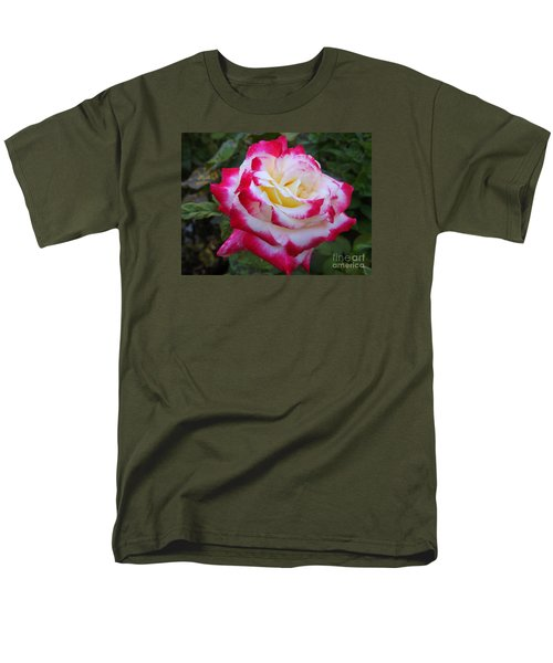 White Rose With Pink Texture Hybrid Men's T-Shirt  (Regular Fit) by Lingfai Leung