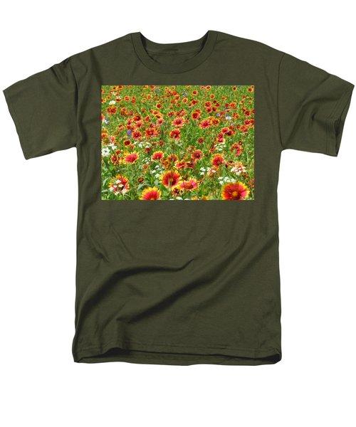 Men's T-Shirt  (Regular Fit) featuring the photograph Wild Red Daisies #3 by Robert ONeil