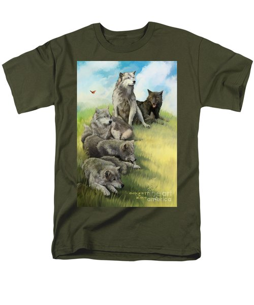 Men's T-Shirt  (Regular Fit) featuring the painting Wolf Gathering Lazy by Rob Corsetti