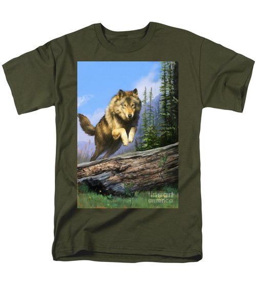 Men's T-Shirt  (Regular Fit) featuring the painting Wolf Run by Rob Corsetti