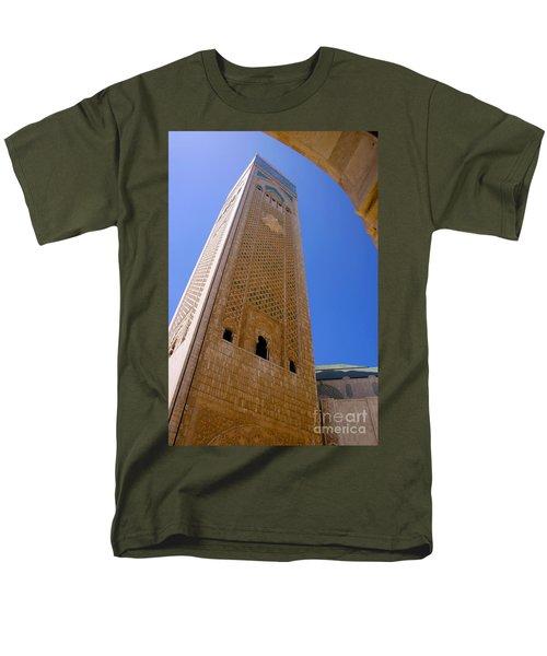 Men's T-Shirt  (Regular Fit) featuring the photograph Worlds Tallest Minaret At 210m Hassan II Mosque Grand Mosque Sour Jdid Casablanca Morocco by Ralph A  Ledergerber-Photography