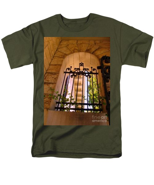 Men's T-Shirt  (Regular Fit) featuring the photograph Wrought Iron Arch Window 1 by Becky Lupe
