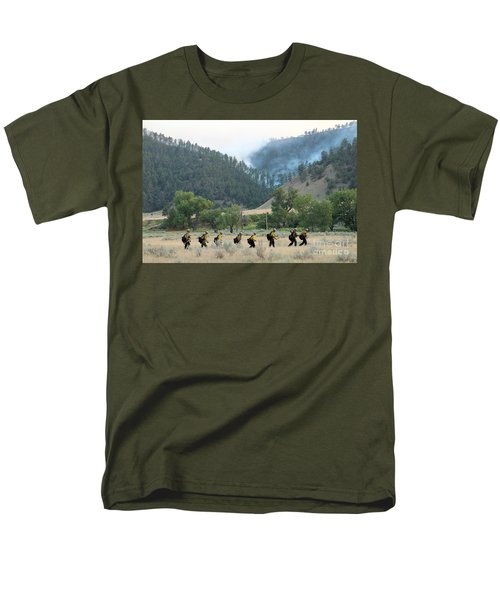 Men's T-Shirt  (Regular Fit) featuring the photograph Wyoming Hot Shots Walk To Their Assignment by Bill Gabbert
