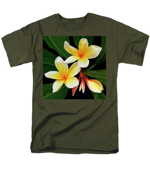 Yellow Plumeria Men's T-Shirt  (Regular Fit) by Ben and Raisa Gertsberg