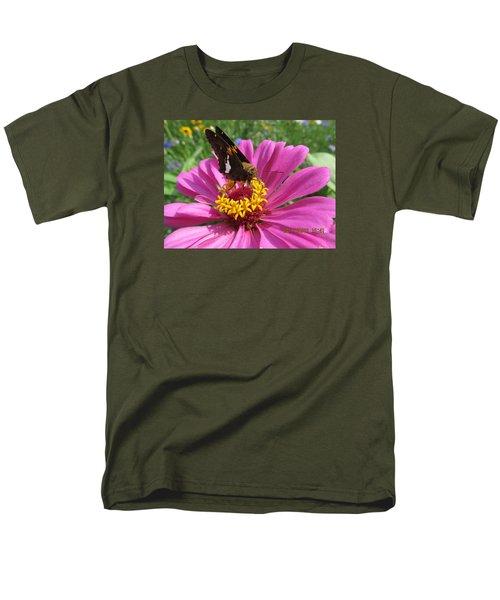 Men's T-Shirt  (Regular Fit) featuring the photograph  Butterfly On Pink Flower by Tina M Wenger