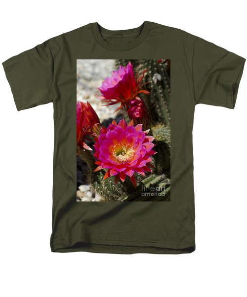 Pink Cactus Flowers Men's T-Shirt  (Regular Fit) by Jim And Emily Bush