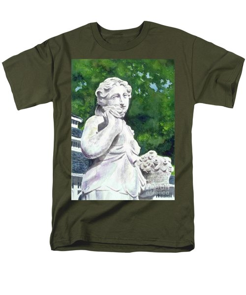 Men's T-Shirt  (Regular Fit) featuring the painting A Statue At The Wellers Carriage House -1 by Yoshiko Mishina