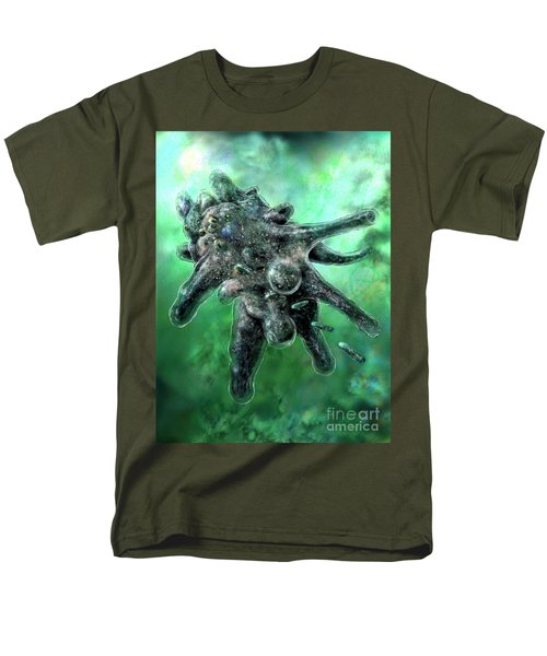 Men's T-Shirt  (Regular Fit) featuring the digital art Amoeba Green by Russell Kightley