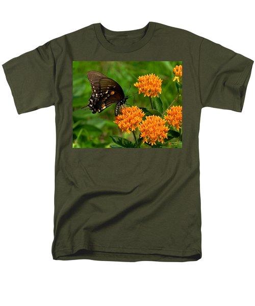 Black Swallowtail Visiting Butterfly Weed Din012 Men's T-Shirt  (Regular Fit) by Gerry Gantt
