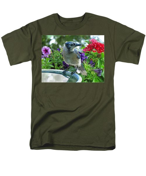 Men's T-Shirt  (Regular Fit) featuring the photograph Blue Jay At Water by Debbie Portwood
