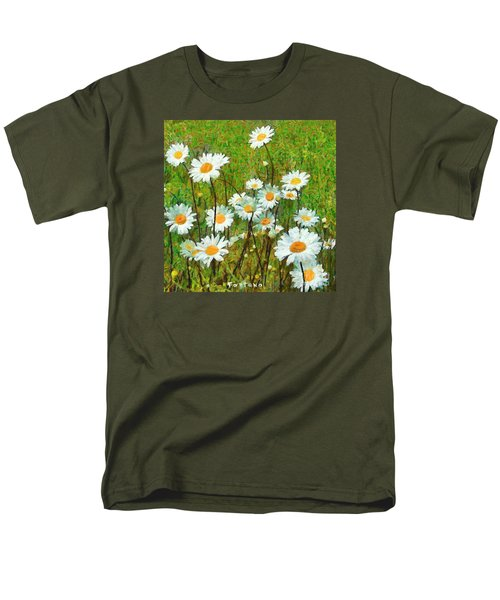 Men's T-Shirt  (Regular Fit) featuring the painting Camomiles Field by Dragica  Micki Fortuna