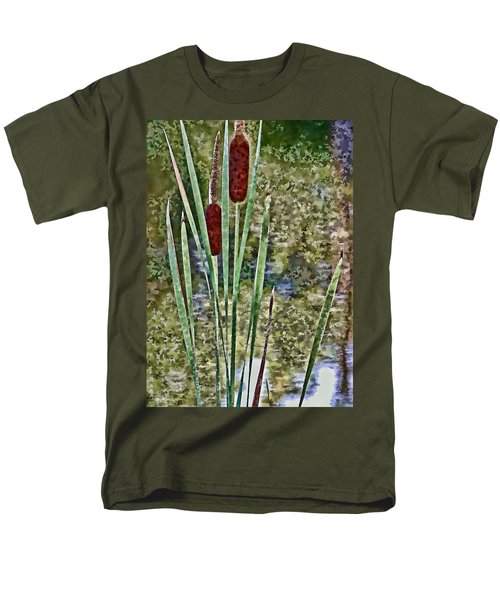 Men's T-Shirt  (Regular Fit) featuring the photograph Cattails Along The Pond by Don Schwartz
