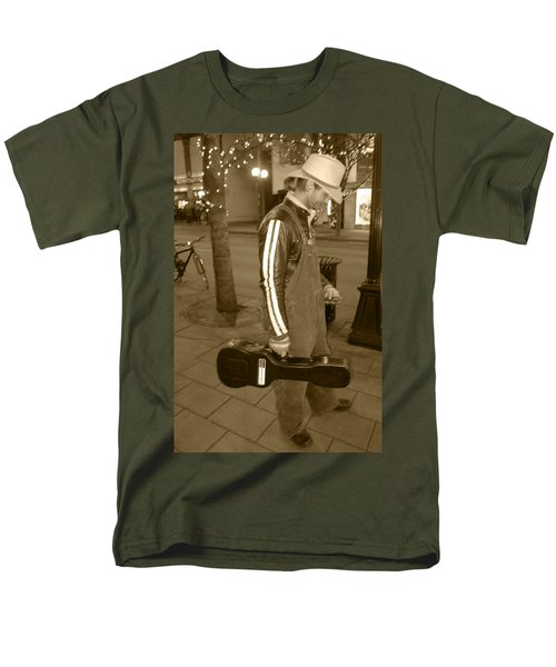 Men's T-Shirt  (Regular Fit) featuring the photograph Cowboy Musician On Streets by Kym Backland