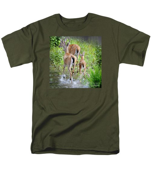 Men's T-Shirt  (Regular Fit) featuring the photograph Deer Running In Stream by Nava Thompson