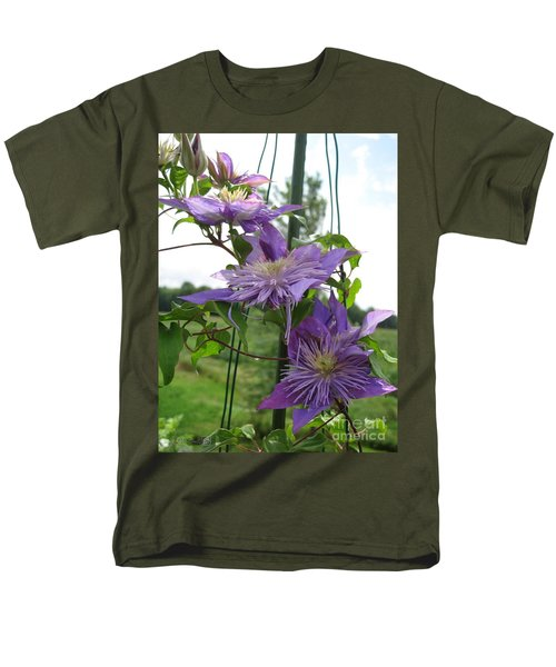 Men's T-Shirt  (Regular Fit) featuring the photograph Double Clematis Named Crystal Fountain by J McCombie