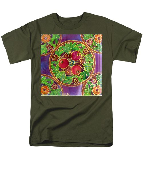 Festive Pomegranates In Gold And Vivid Colors Wall Decor In Red Green Purple Branch Leaves Flowers Men's T-Shirt  (Regular Fit) by Rachel Hershkovitz