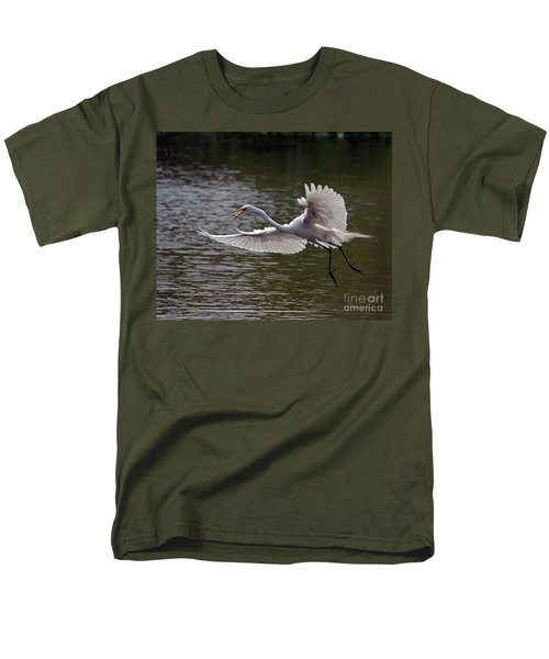 Men's T-Shirt  (Regular Fit) featuring the photograph Great Egret In Flight by Art Whitton
