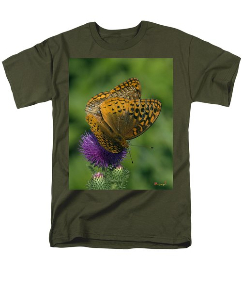 Great Spangled Fritillaries On Thistle Din108 Men's T-Shirt  (Regular Fit) by Gerry Gantt