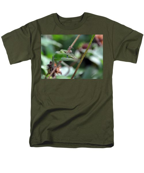 Green Anole Men's T-Shirt  (Regular Fit) by Kay Lovingood