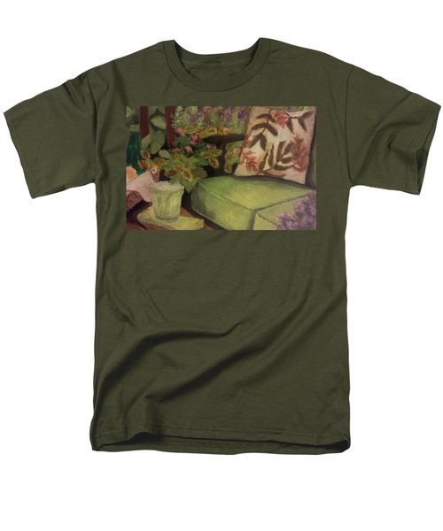Men's T-Shirt  (Regular Fit) featuring the painting Green Patio by Christy Saunders Church