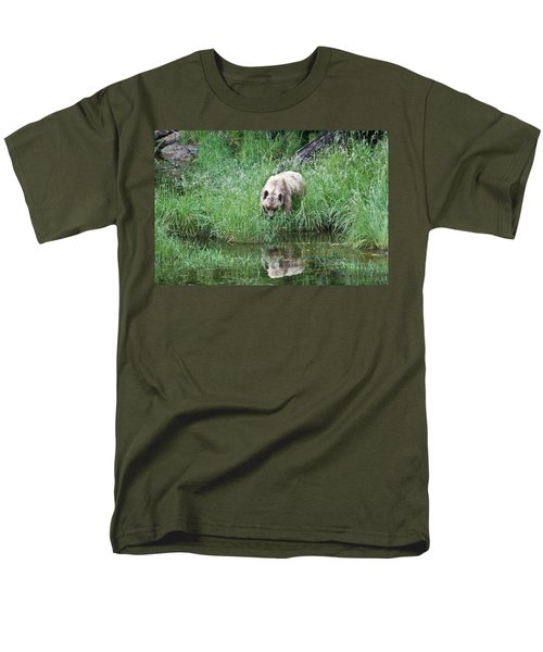 Grizzly Bear And Reflection On Prince Rupert Island Canada 2209 Men's T-Shirt  (Regular Fit) by Michael Bessler