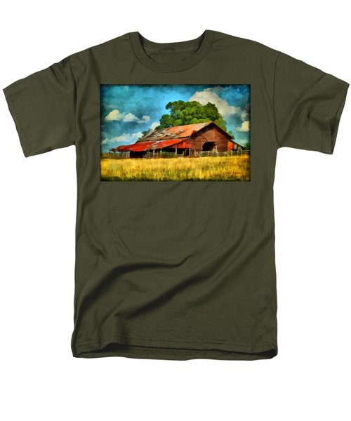 Men's T-Shirt  (Regular Fit) featuring the painting Long Road Barn by Lynne Jenkins