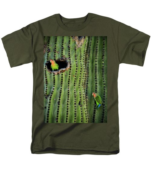 Lovebirds And The Saguaro  Men's T-Shirt  (Regular Fit) by Saija  Lehtonen