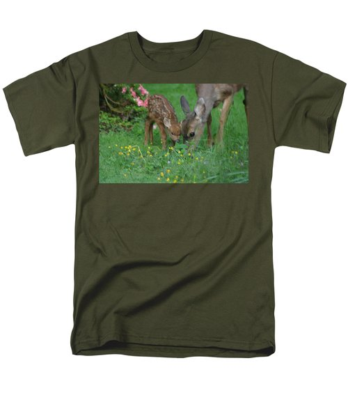 Men's T-Shirt  (Regular Fit) featuring the photograph Mama And Spotted Baby Fawn by Kym Backland