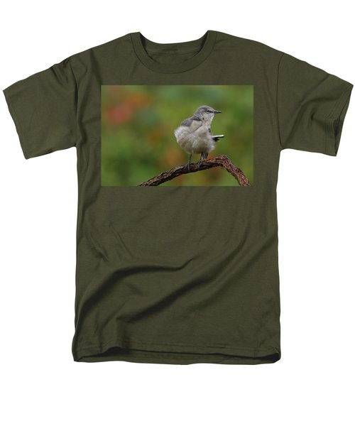 Men's T-Shirt  (Regular Fit) featuring the photograph Mocking Bird Perched In The Wind by Daniel Reed
