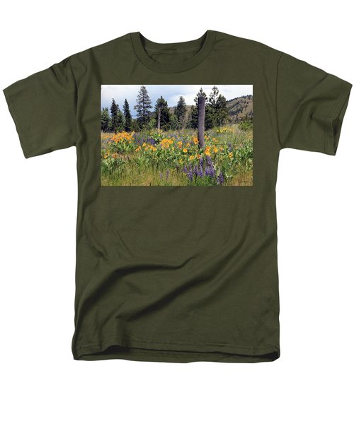 Men's T-Shirt  (Regular Fit) featuring the photograph Montana Wildflowers by Athena Mckinzie