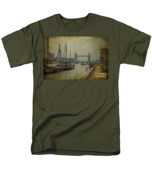 Men's T-Shirt  (Regular Fit) featuring the photograph Moored Thames Barges. by Clare Bambers