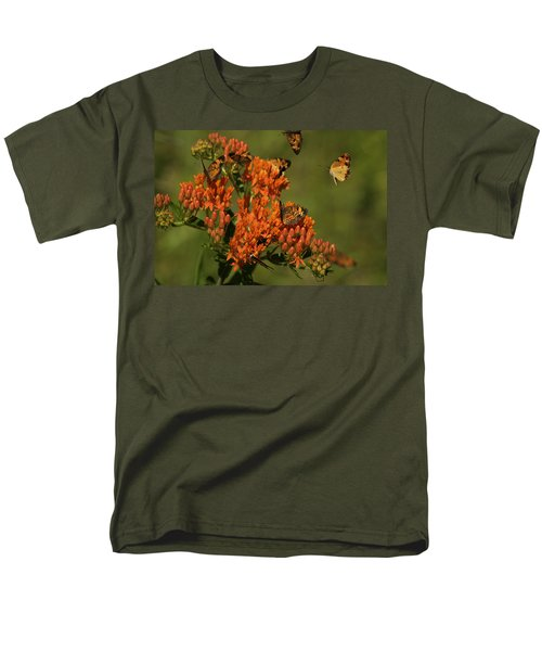 Men's T-Shirt  (Regular Fit) featuring the photograph Pearly Crescentpot Butterflies Landing On Butterfly Milkweed by Daniel Reed