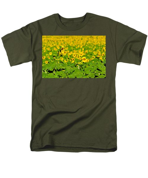 Men's T-Shirt  (Regular Fit) featuring the photograph Peeking Above  Sea Of Yellow by Colleen Coccia