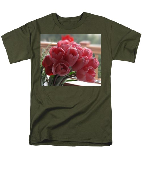 Men's T-Shirt  (Regular Fit) featuring the photograph Pink Tulips In Vase by Katie Wing Vigil