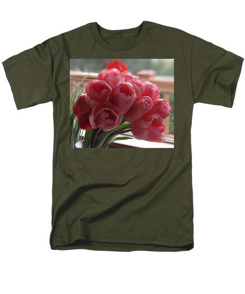 Pink Tulips In Vase Men's T-Shirt  (Regular Fit) by Katie Wing Vigil