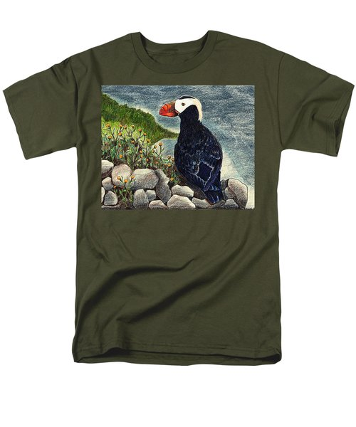 Men's T-Shirt  (Regular Fit) featuring the drawing Puffin by Wendy McKennon