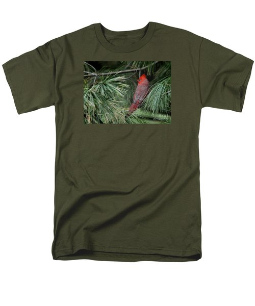 Men's T-Shirt  (Regular Fit) featuring the photograph Red Cardinal In Green Pine by Nava Thompson