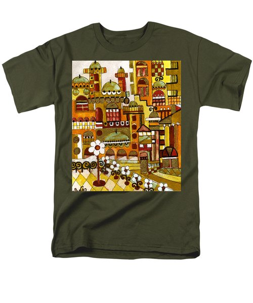 Red Kasba Skyline Landscape Art Of Old Town Dome And Minarett Decorated With Flower Arch In Orange Men's T-Shirt  (Regular Fit) by Rachel Hershkovitz