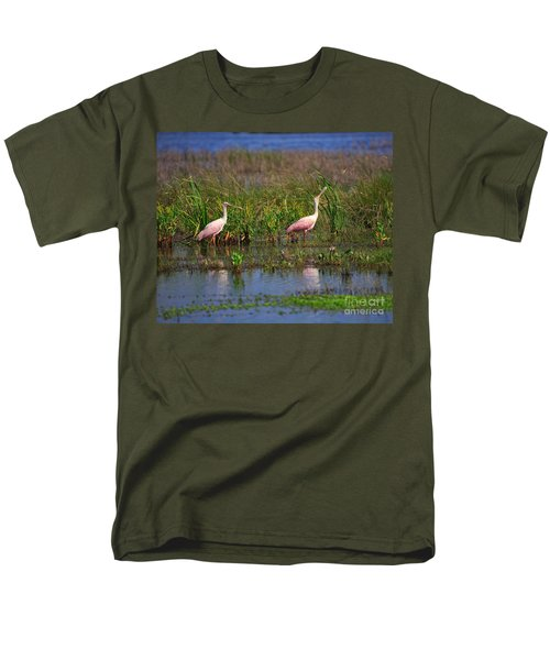 Roseate Spoonbills Men's T-Shirt  (Regular Fit) by Louise Heusinkveld