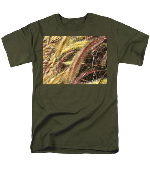 Men's T-Shirt  (Regular Fit) featuring the digital art Setaria Italica Red Jewel - Red Bristle Grass by Anne Mott